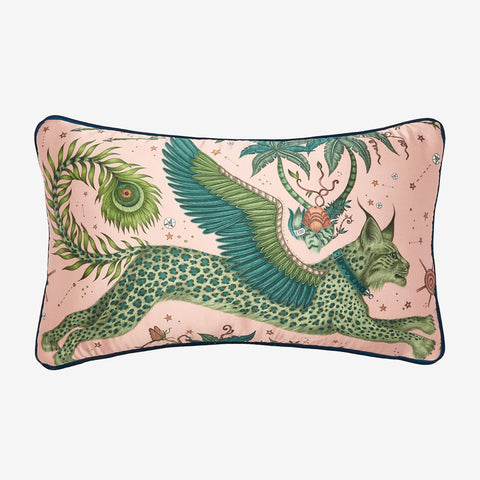 Transform your room into a Fantastical Lynx inspired dream with the Lynx Silk Double Bolster in Pink, designed by Emma J Shipley. Featuring a striking scene of creatures including a flying Winged Lynx with peacock tails. It will work beautifully on any sofa, chair or bed.