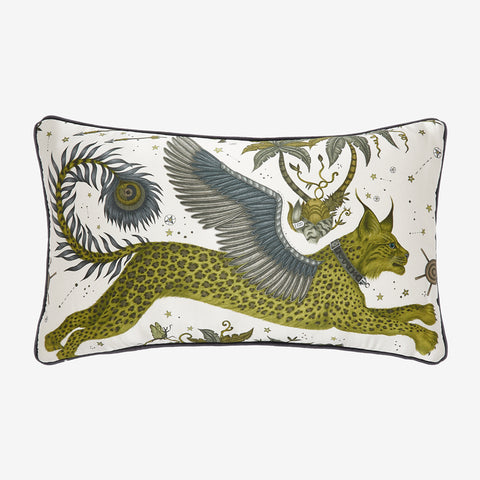 Transform your room into a Fantastical Lynx inspired dream with the Lynx Silk Double Bolster in Gold Yellow, designed by Emma J Shipley. Featuring a striking scene of creatures including a flying Winged Lynx with peacock tails. It will work beautifully on any sofa, chair or bed.
