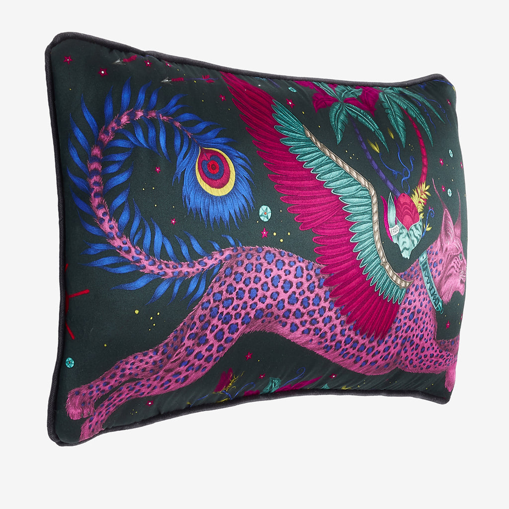 The vide view of the Lynx silk Double Bolster Cushion in Navy it's the perfect cushion to brighten up a lounge chair or to pile up on your bed to create a magic and comforting bed spread
