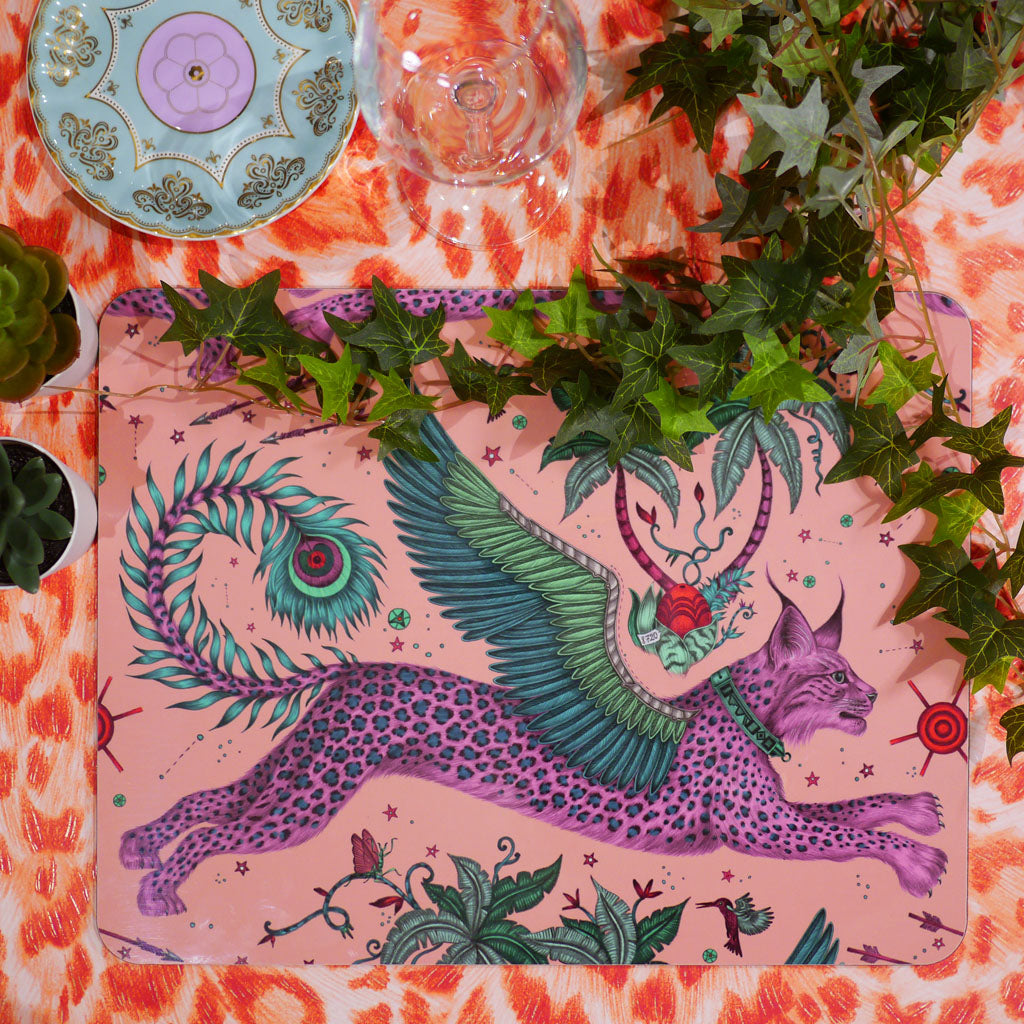 Emma J Shipley Lynx placemat in pink and green with a winged cat illustration