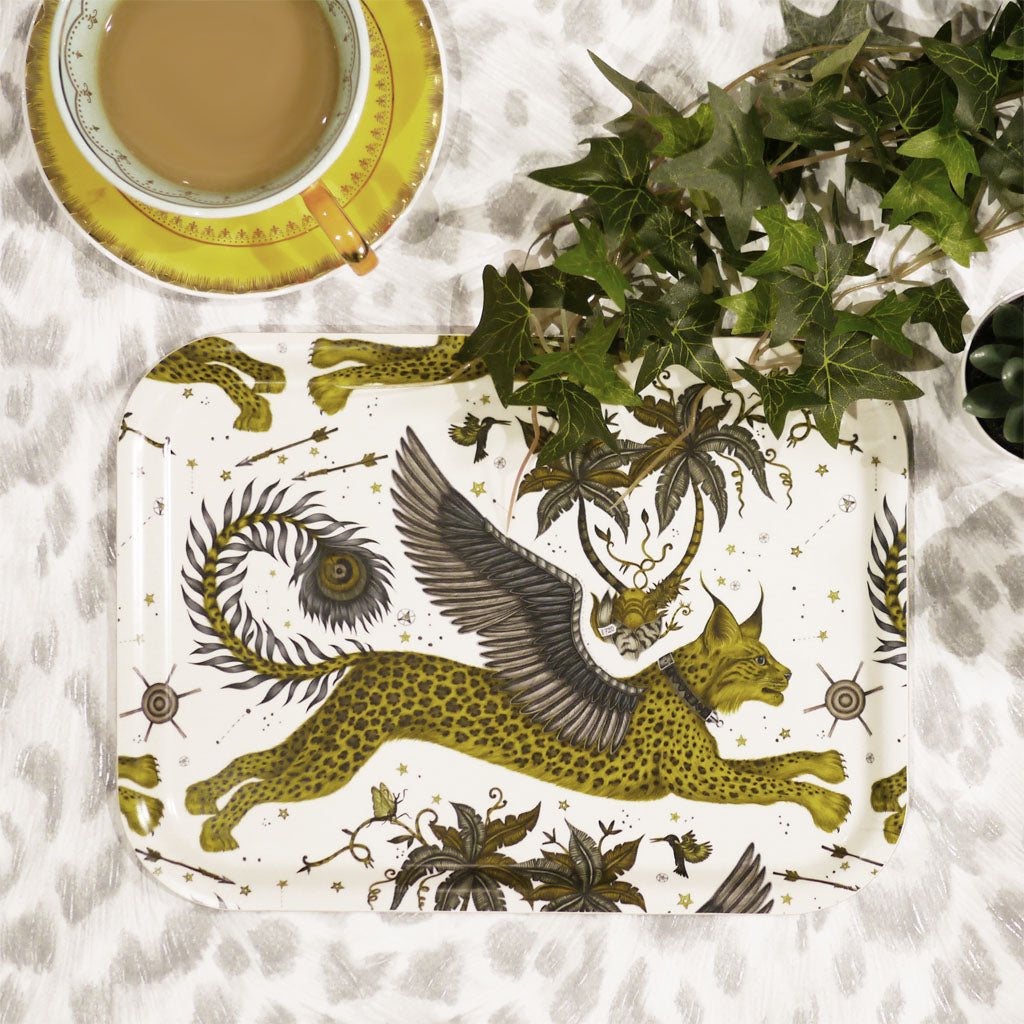 Lynx small tray by Emma J Shipley in golden and grey colours