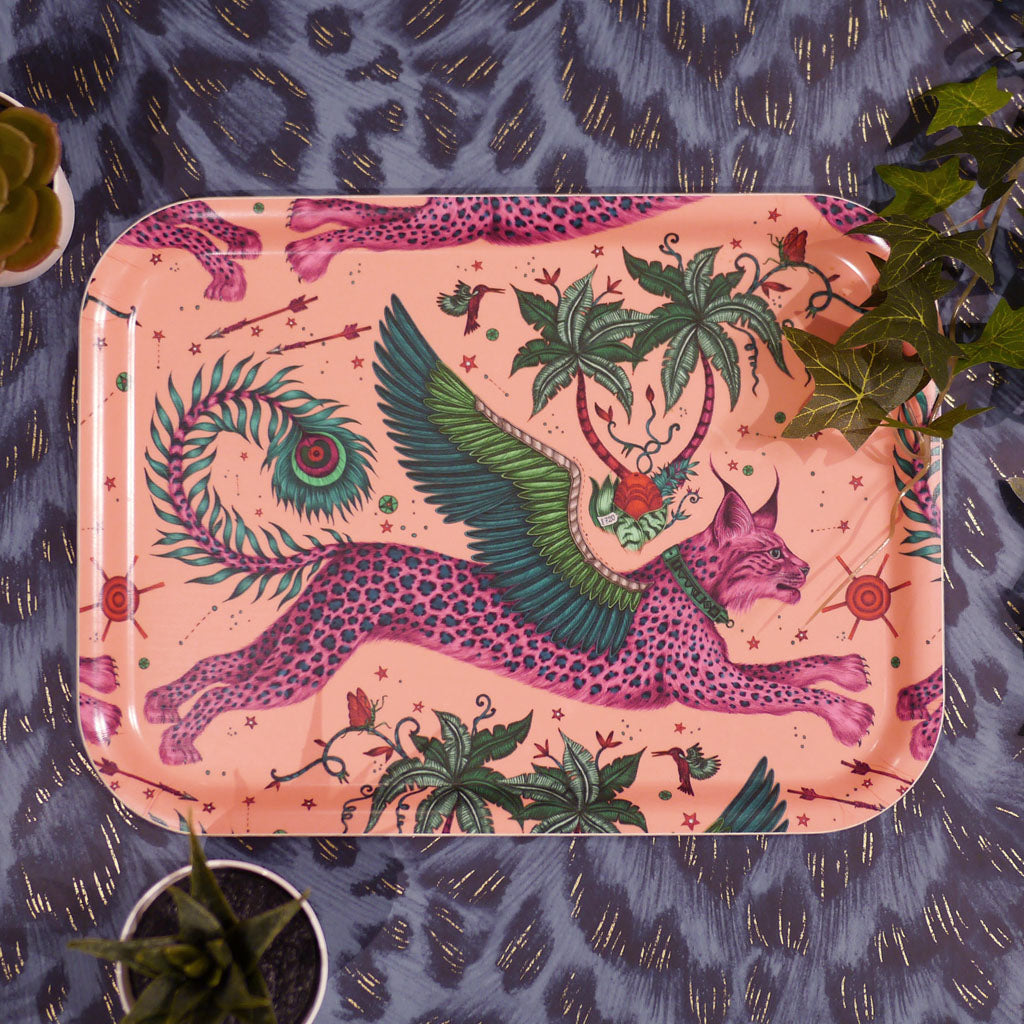 Emma J Shipley Lynx small tray featuring a winged cat illustration in pink and green