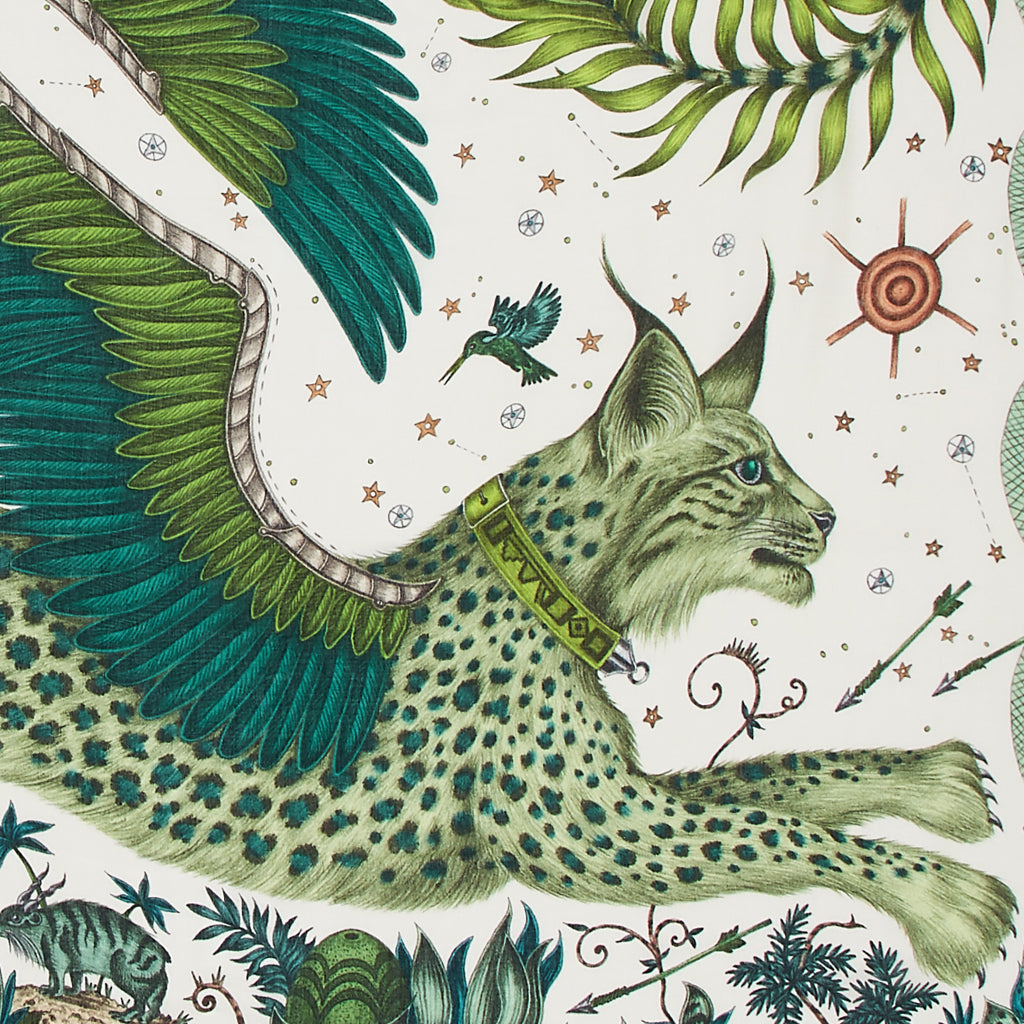 A close up look of Emma J Shipley's lynx modal blend scarf in  luscious green.