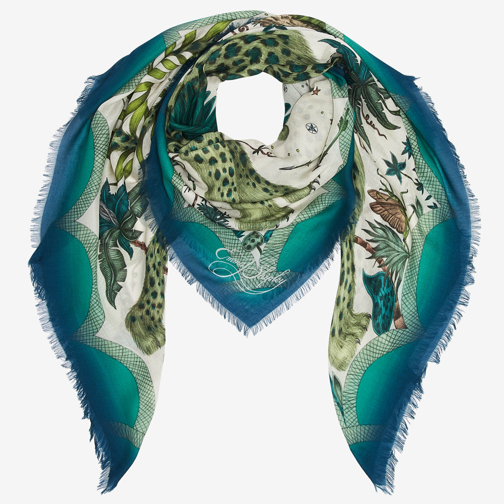 How to style a Lynx modal blend scarf; designed by Emma J Shipley for the wilderness collection.