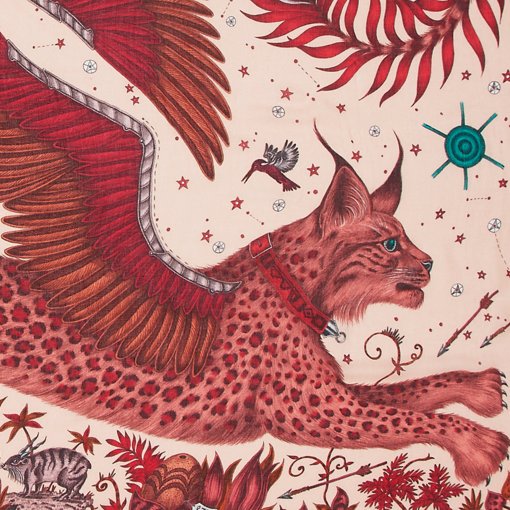 A close up look of Emma J Shipley's lynx scarf made from the finest blend of modal and cashmere.