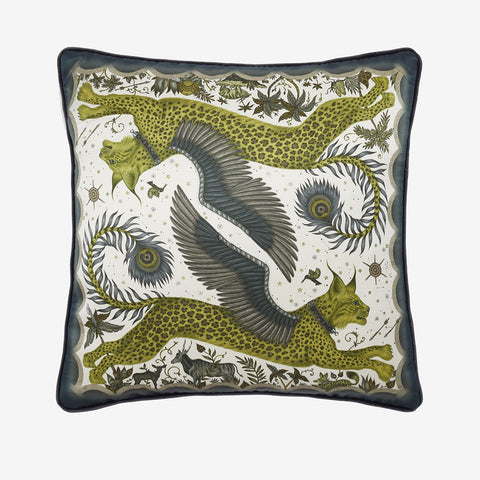 Transform your room into a Fantastical Lynx inspired dream with the Lynx Silk Cushion in Gold, designed by Emma J Shipley. Featuring a striking scene of creatures including a flying Winged Lynx with peacock tails. It will work beautifully on any sofa, chair or bed.