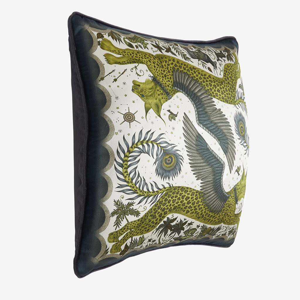 The vide view of the Lynx silk square Cushion in Gold it's the perfect cushion to brighten up a lounge chair or to pile up on your bed to create a magic and comforting bed spread
