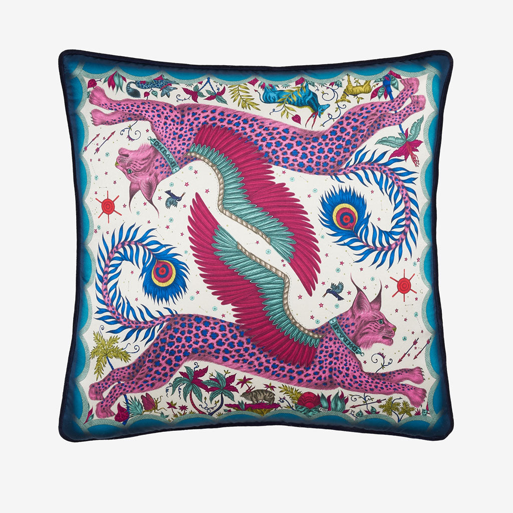 Transform your room into a Fantastical Lynx inspired dream with the Lynx Silk Cushion in Navy, designed by Emma J Shipley. Featuring a striking scene of creatures including a flying Winged Lynx with peacock tails. It will work beautifully on any sofa, chair or bed.