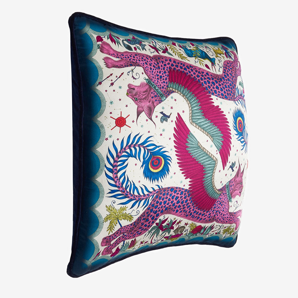 The vide view of the Lynx silk square Cushion in Navy it's the perfect cushion to brighten up a lounge chair or to pile up on your bed to create a magic and comforting bed spread
