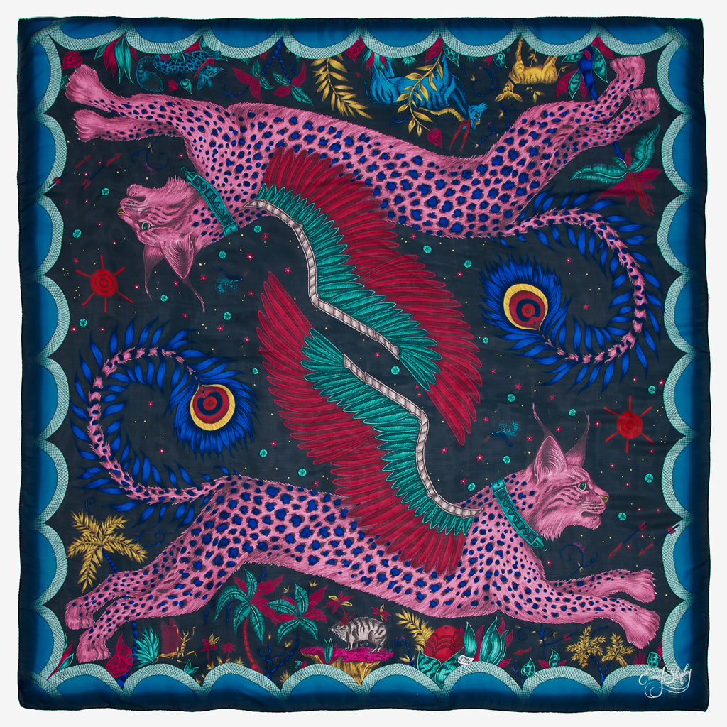 This lynx Chiffon Scarf is inspired by the rock paintings and mythology of the indigenous San people. Designed by Emma J Shipley for the magical wilderness collection