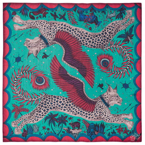 The Lynx Scarf in the Summer colour Palette for the collection designed by Emma J Shipley with Red Leopard Colour Consultants - Summer is inspired by English Gardens, sweet peas and meadows