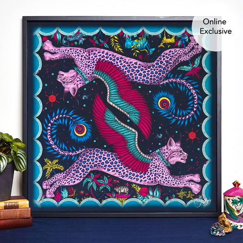 Featuring the Leaping Lynx cats, the Lynx design in the deep and rich navy colour now comes in a silk artwork piece. Perfect for any home interior to add a touch of magic
