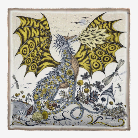 Drakon modal scarf designed by Emma J Shipley featuring a magical hand drawn dragon in design loved by Emilia Clark from Game of Thrones