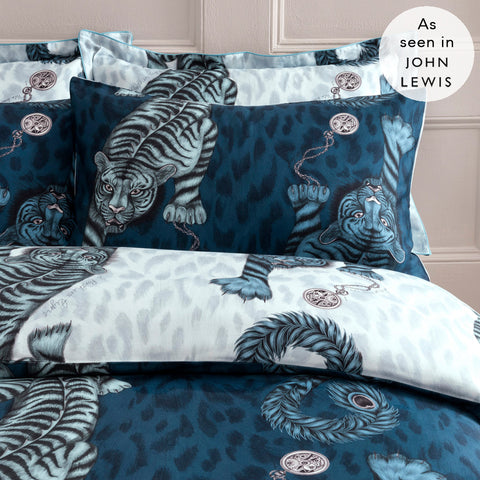 Adorn your bed with a touch of magic with the Tigris Standard Pillowcases, featuring a hand-drawn scene inspired by myths and legends featuring exotic crawling tigers with surreal peacock tails.