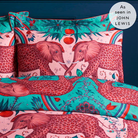 Inspired by Jules Verne adventure stories and Emma's travels to Botswana, the hand-drawn Zambezi design adorns this pair of pink standard pillowcases