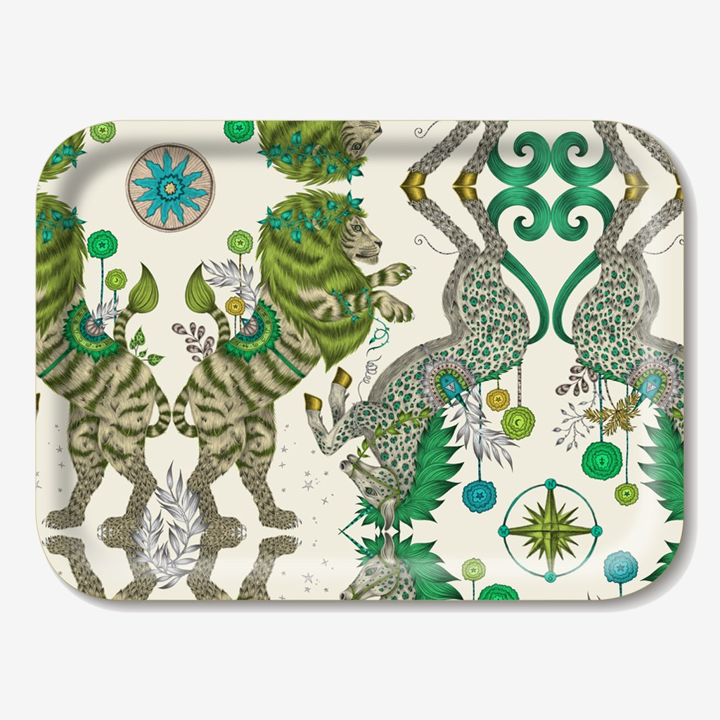 The Caspian Tray features an iconic British lion and unicorn designs, inspired by the world of Narnia hand drawn design by Emma J Shipley