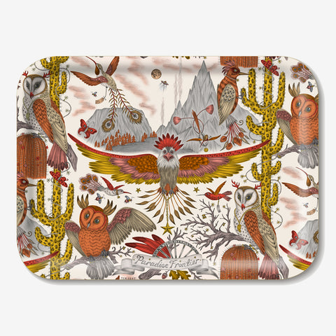 The Frontier Tray designed by Emma J Shipley in collaboration with Jamida. The orange animalistic tray is the perfect fantastical table setting piece