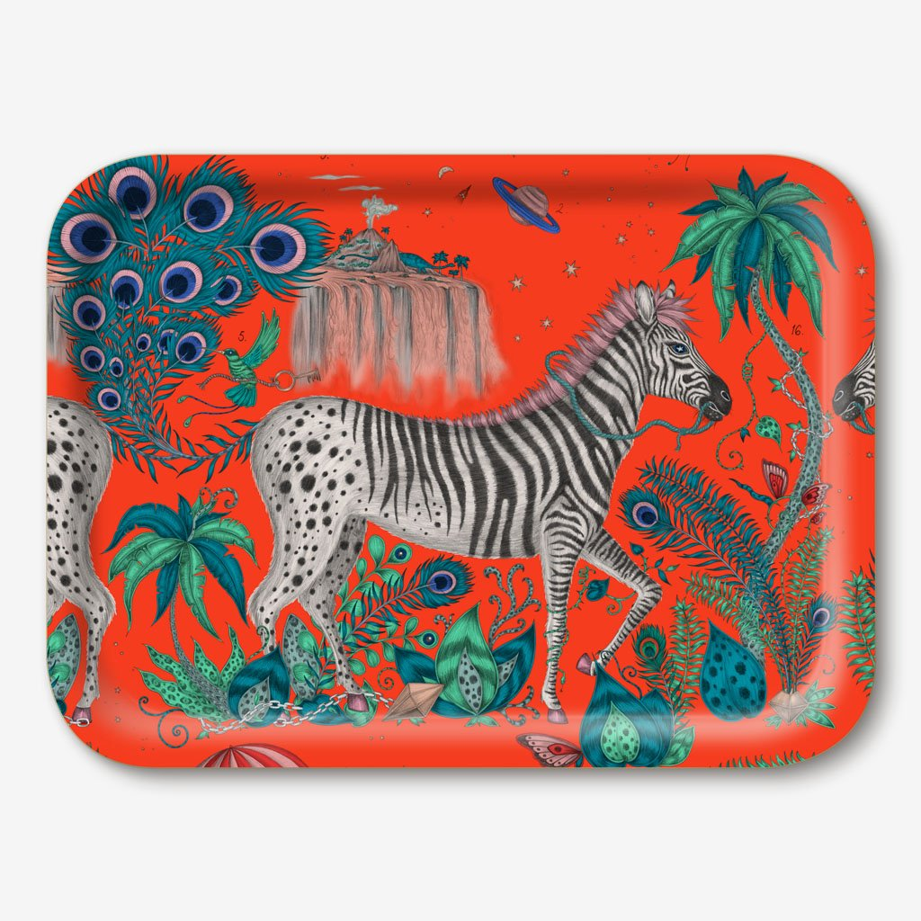 The Lost World Tray designed by Emma J Shipley in collaboration with Jamida. The Red Lost world tray is the perfect fantastical table setting piece
