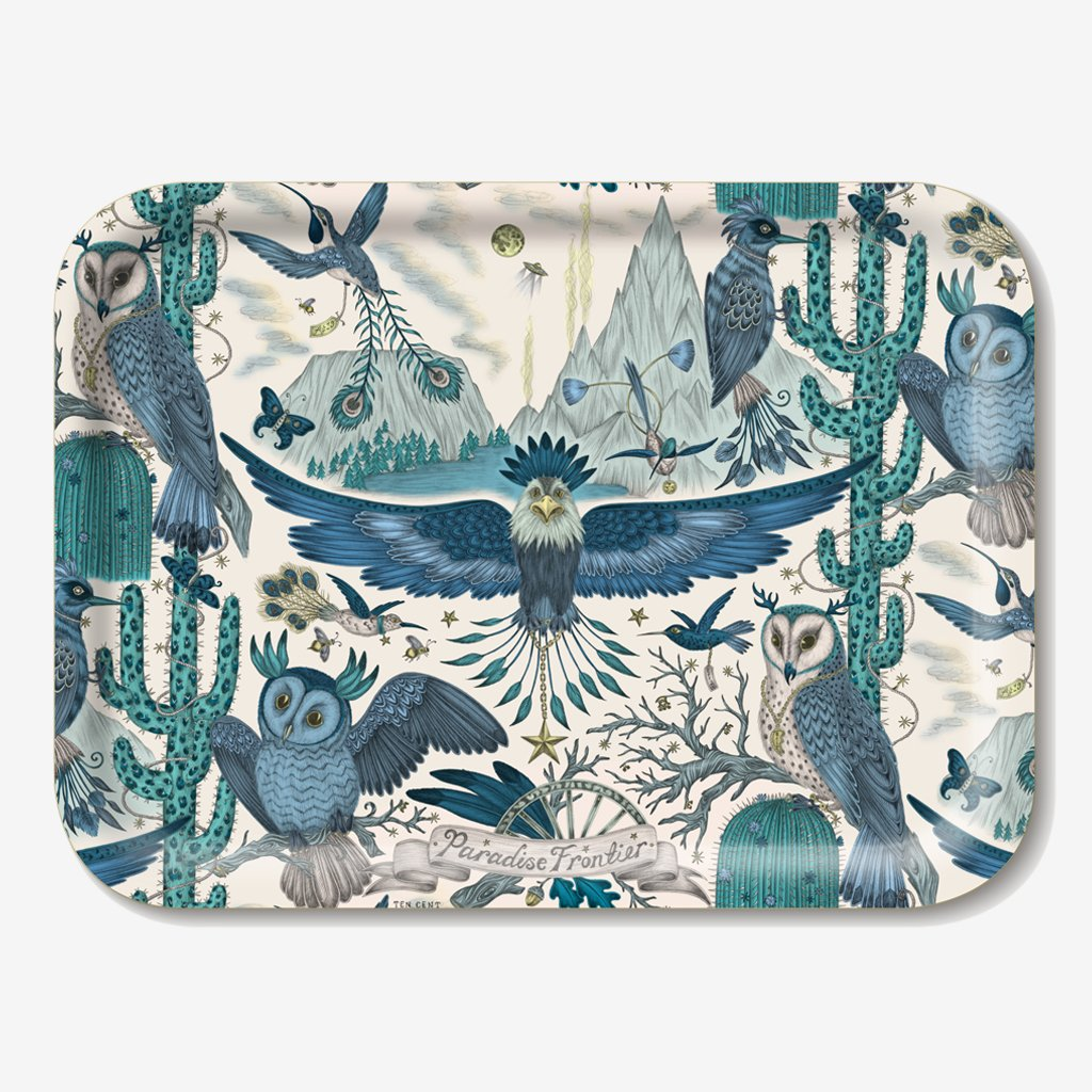 The Frontier Tray designed by Emma J Shipley in collaboration with Jamida. The blue animalistic tray is the perfect fantastical table setting piece