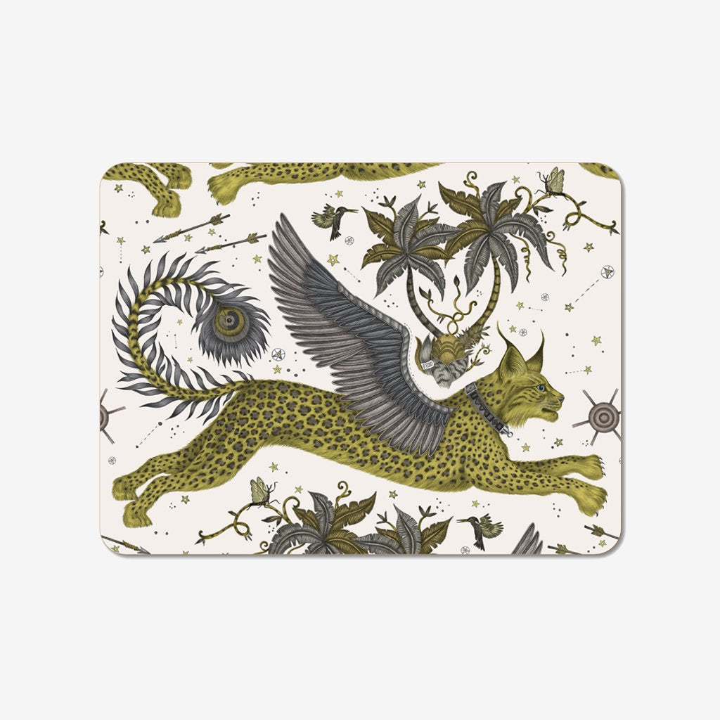 Emma J Shipley and Jamida collaborated on the Lynx Placemat, featuring a hand drawn scene of magical creatures
