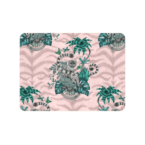 The Lemur Pink Placemat featuring the madagascan Lemur, palm trees and leafy foliage, designed and drawn by Emma J Shipley