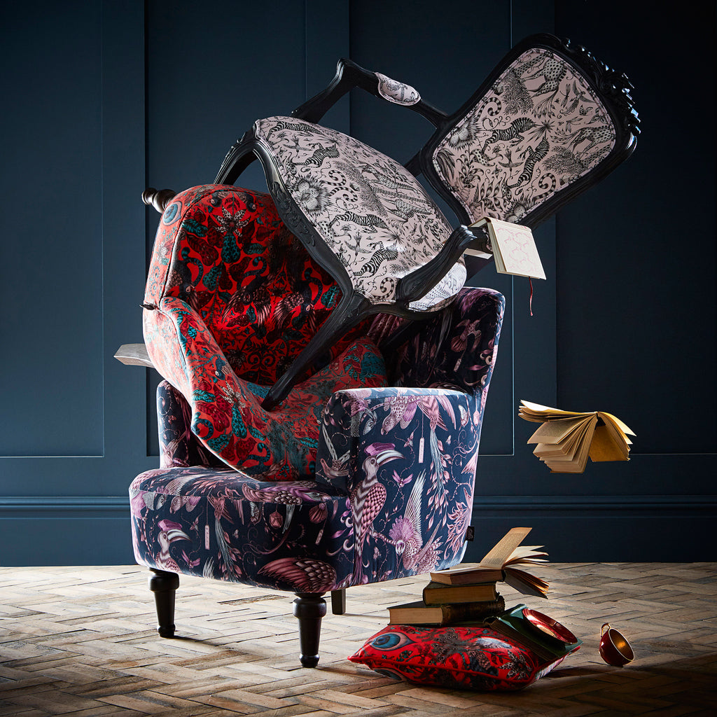Introducing the Emma J Shipley for Clarke & Clarke furniture range; the perfect, statement pieces of furniture in velvet and cotton satin fabrics