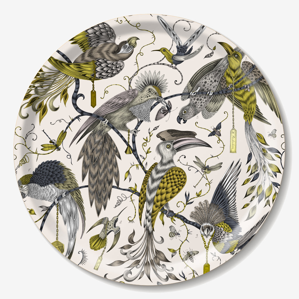 Tropical birds hand-drawn by Emma J Shipley adorn the enchanting Audubon Tray