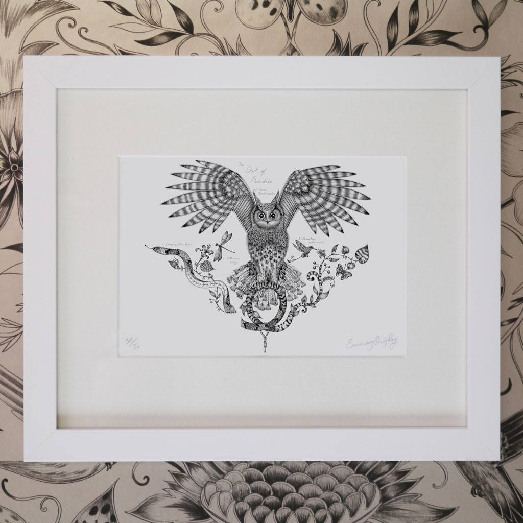Owl of Paradise Mini Print - White Frame