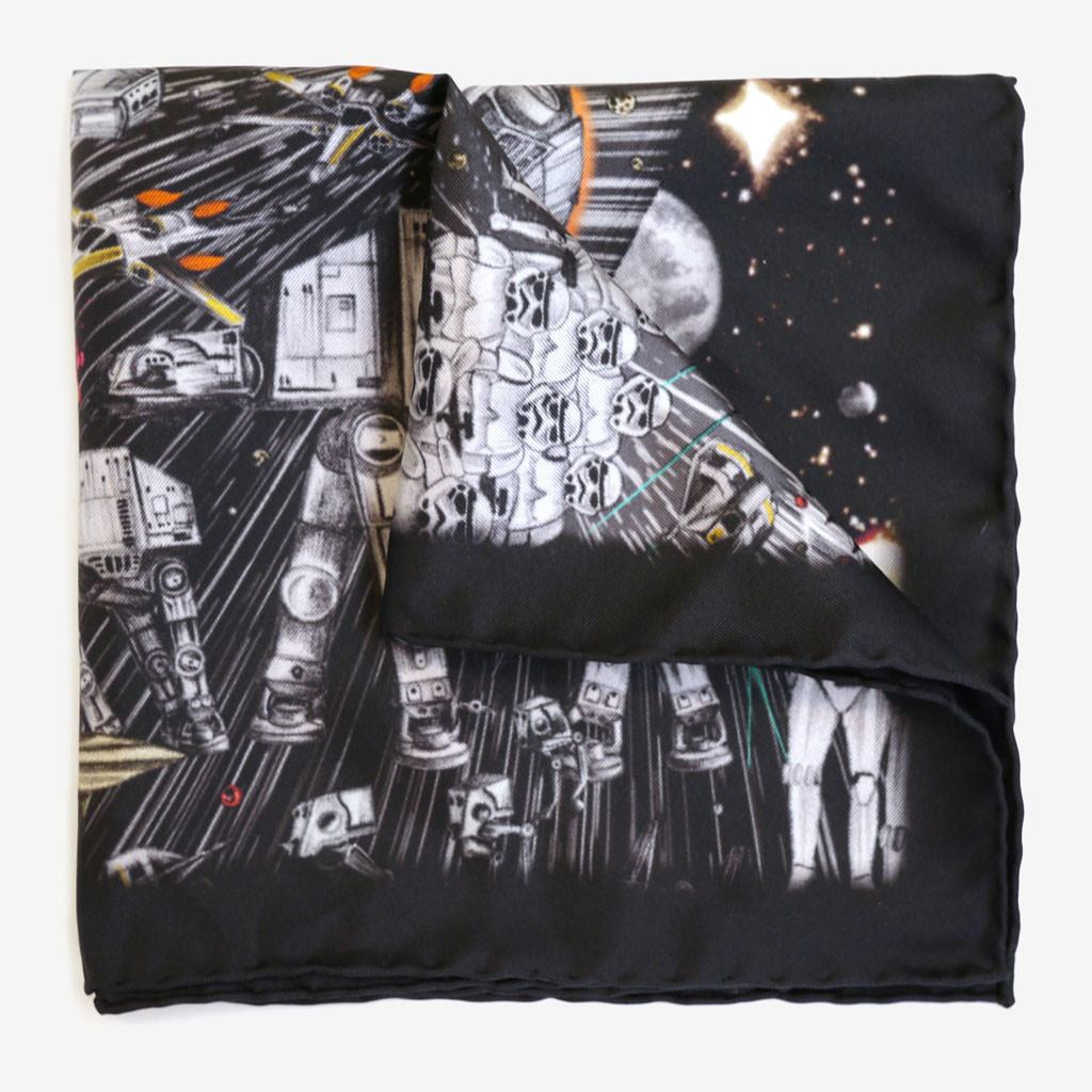 Detail of star wars pocket square made in italy with hand rolled edge