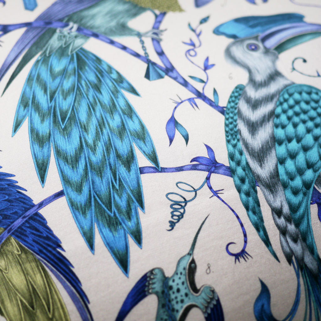 Detail from the Audubon Large Cushion, hand drawn and designed by Emma J Shipley