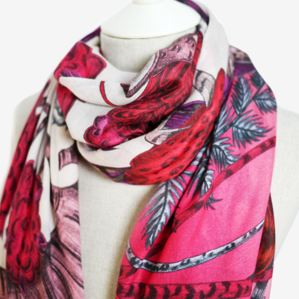 Beautiful pink and red hues throughout the Elven Modal Blend Scarf designed and hand drawn by Emma J Shipley