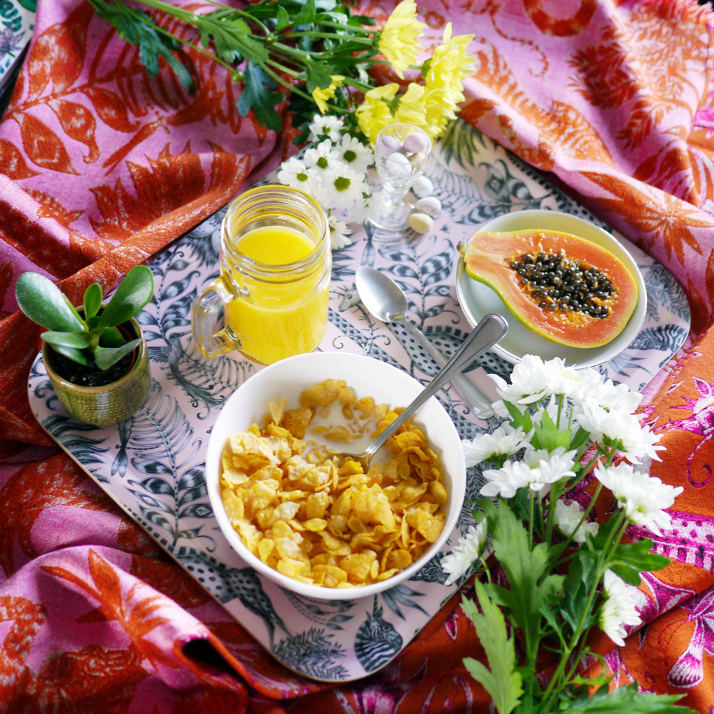 The Kruger Large tray designed by Emma J Shipley is a beautiful way to accompany breakfast in bed...