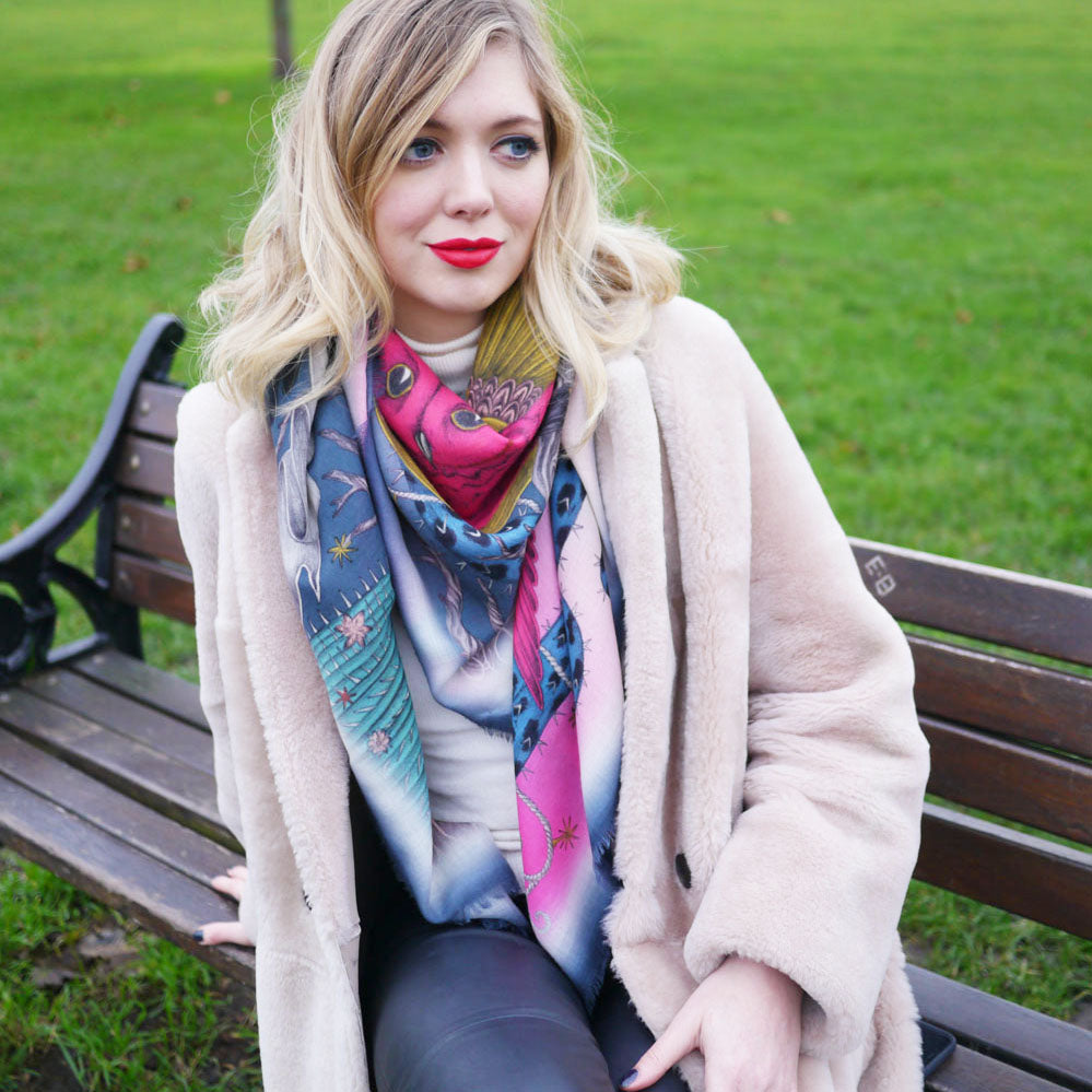 Emma J Shipley Frontier fine wool scarf in magenta and blue colours