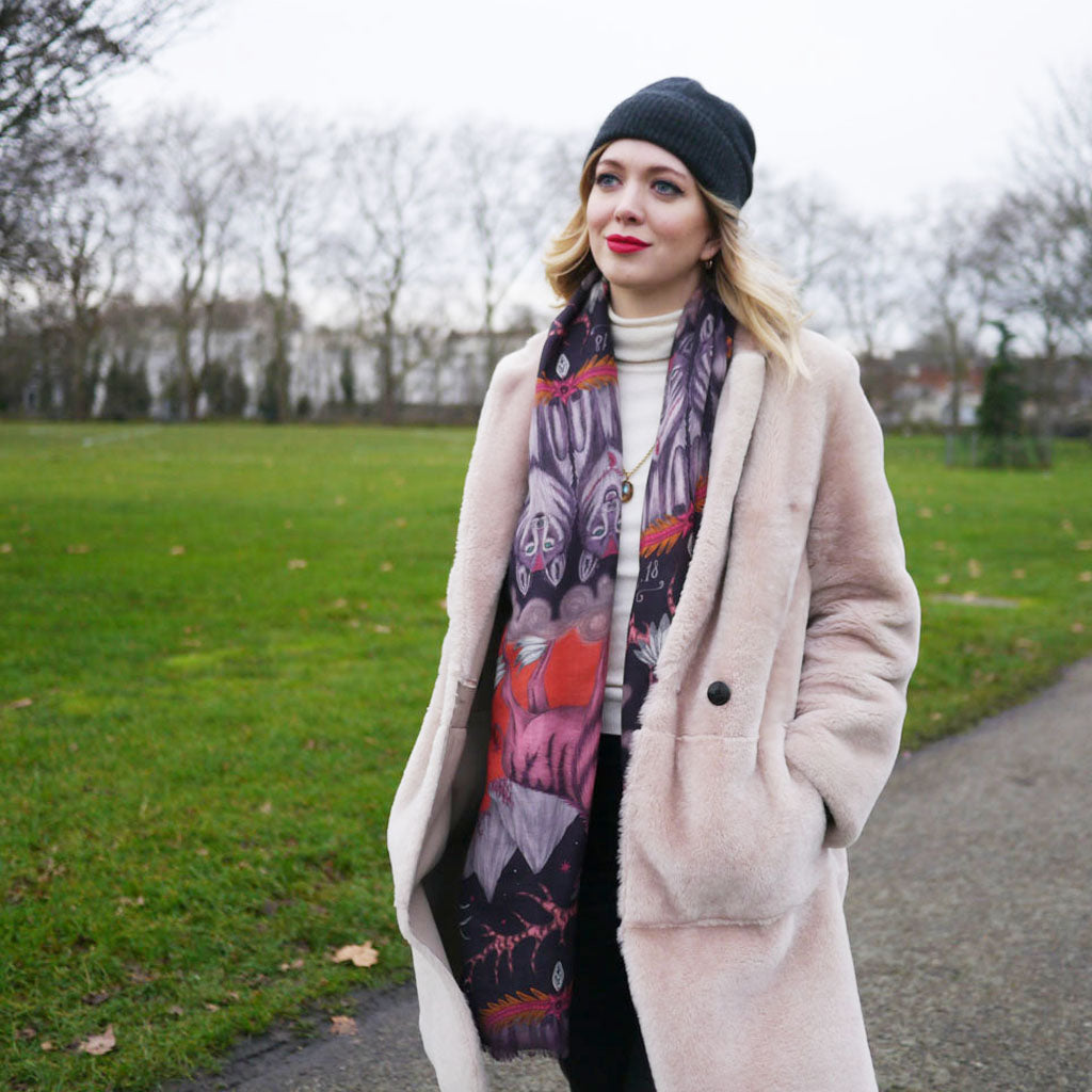 Emma J Shipley wears the Wild West fine wool shawl, scarf style