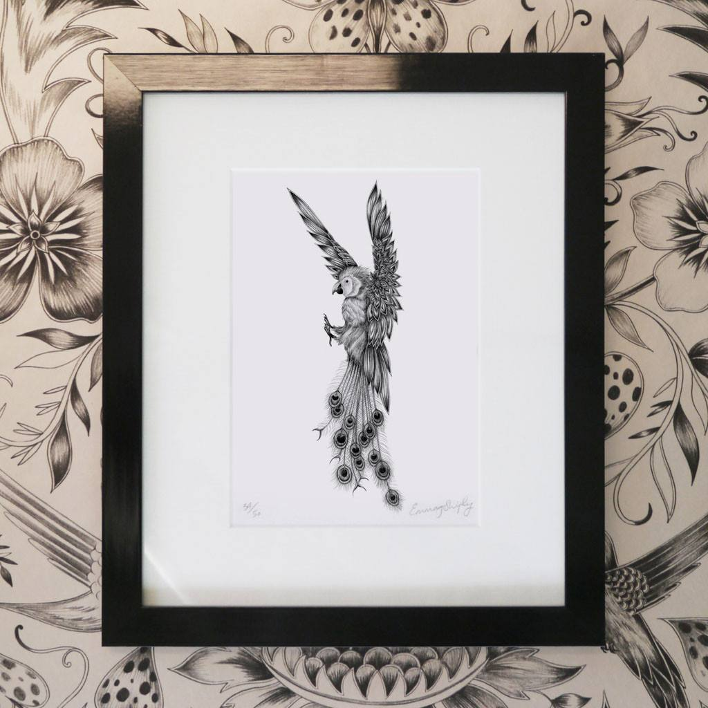 Amazona Cristatus Mini Print - Black Frame