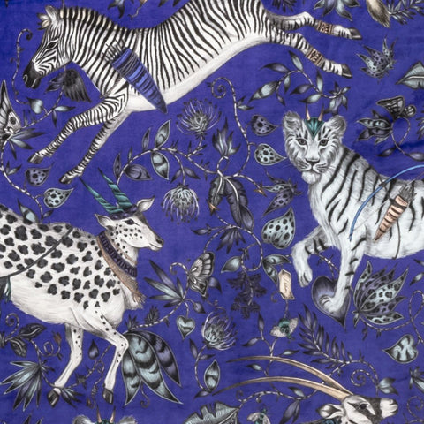 A closer look at the Protea Velvet in Blue, Hand drawn by Emma J Shipley and produced with Clarke & Clarke