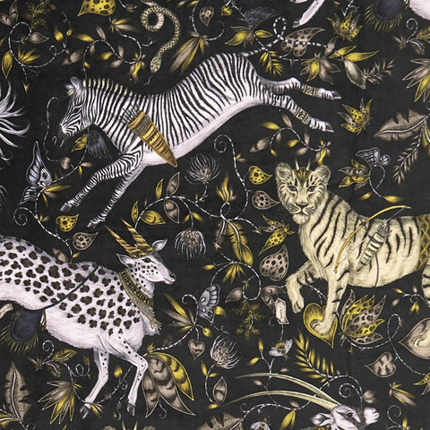 A closer look at the Protea Velvet in Grey, Hand drawn by Emma J Shipley and produced with Clarke & Clarke