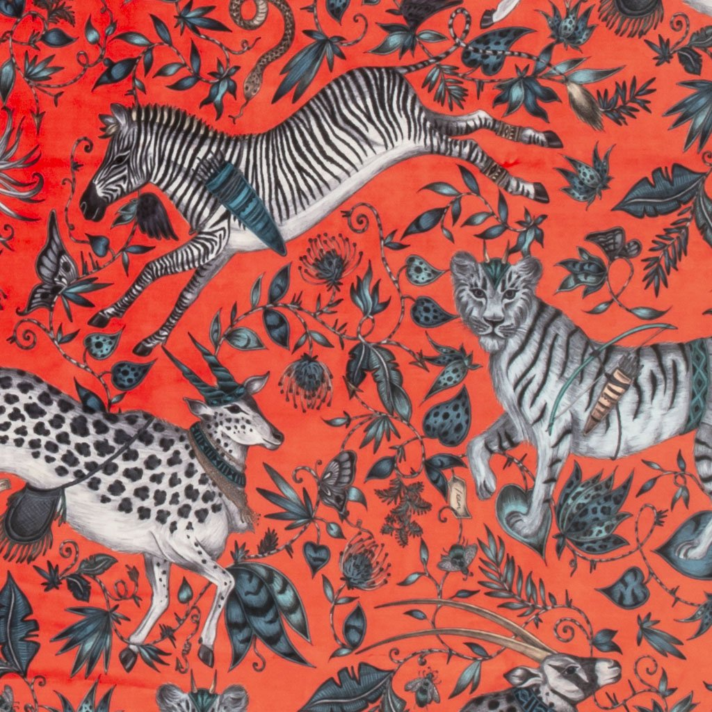 An detailed view of the Protea Print in Red, printed onto Velvet for the new Wilderie collection done by Emma J Shipley with Clarke & Clarke