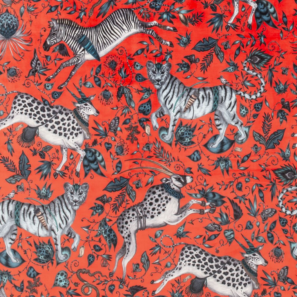 A better look at the full width of velvet with the Protea Red Print on it, hand illustrated by Emma J Shipley