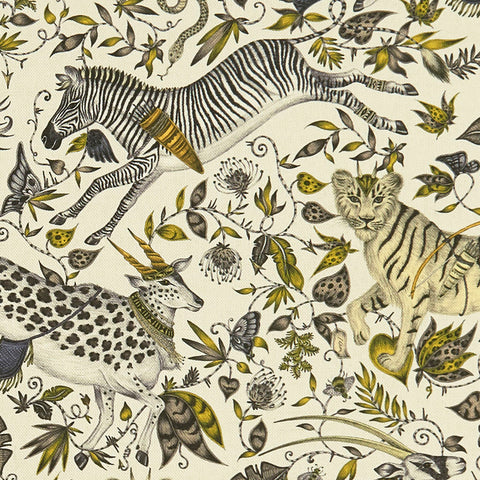 A closer look at the Protea Linen in gold, Hand drawn by Emma J Shipley and produced with Clarke & Clarke
