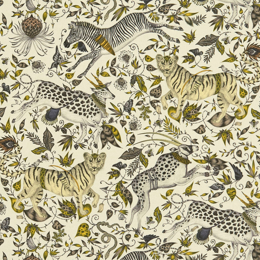 An overall view of the Protea Print in Gold, printed onto Linen for the new Wilderie collection done by Emma J Shipley with Clarke & Clarke