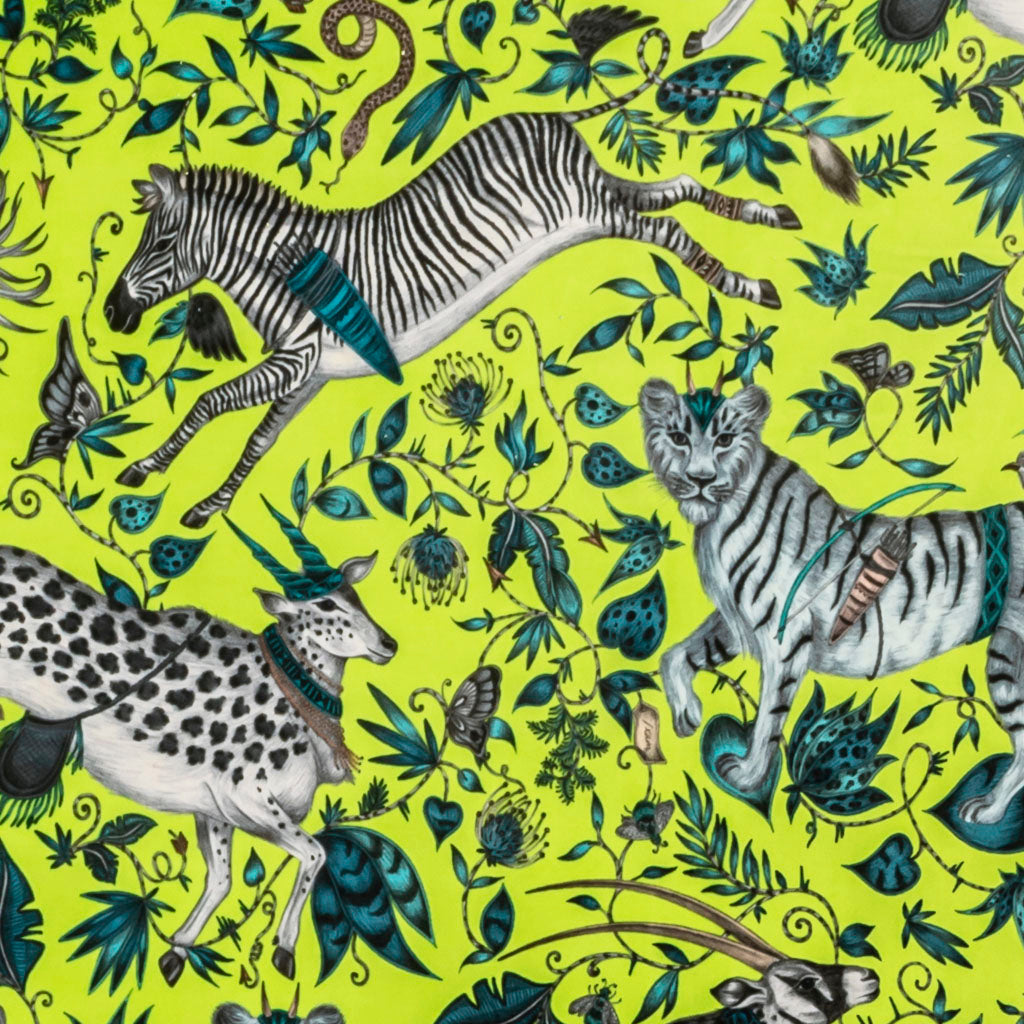 a detailed shot of the Protea Velvet in Lime, Hand drawn by Emma J Shipley and produced with Clarke & Clarke