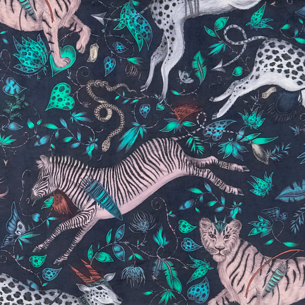 A closer look at the Protea Velvet in Navy, Hand drawn by Emma J Shipley and produced with Clarke & Clarke