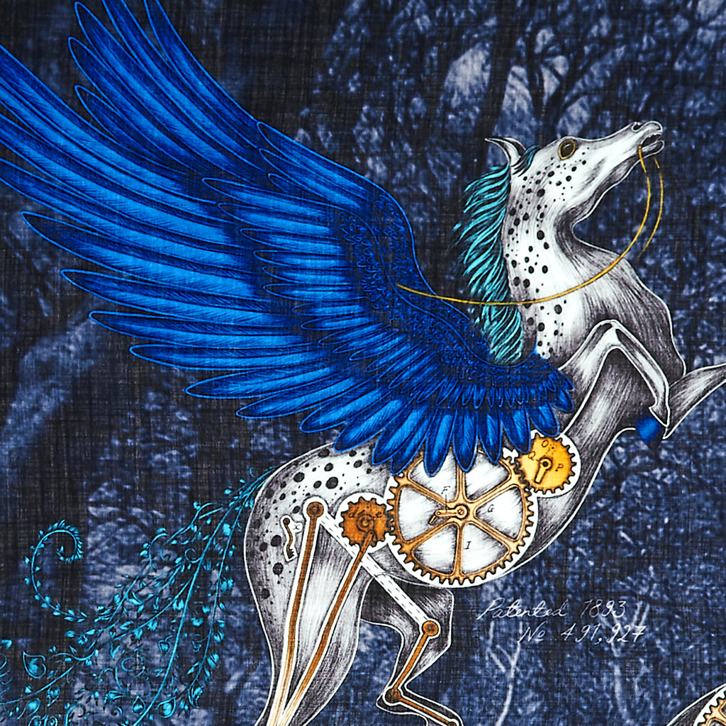 The hand-drawn design features two majestic winged horses, complete with clockwork detailing and tails made of foliage.