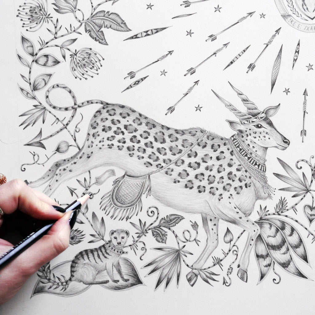 Emma J Shipley's original pencil drawing of the native protea flower and iconic mantis, surrounded by curious creatures and twisting foliage.