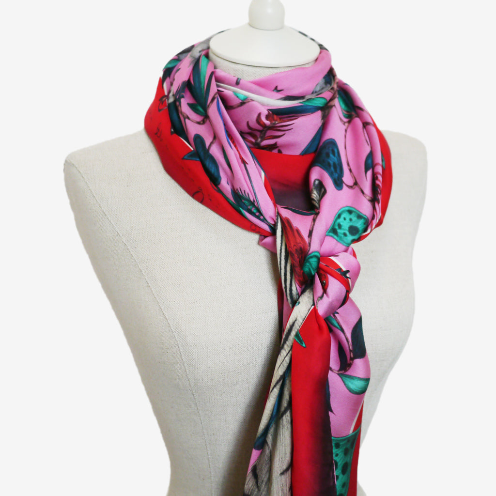 Emma J Shipley's designer Protea Silk Chiffon scarf designed and styled for the wilderness collection.