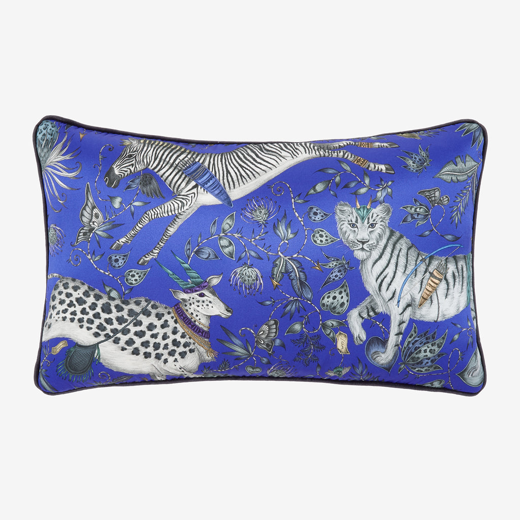 Add a touch of magic to your room with the Fantastical Protea Silk Double Bolster in Blue, designed by Emma J Shipley. Featuring a striking scene of creatures including a flying Zebra with shooting arrows and twining foliage. It will work beautifully on any sofa, chair or bed.