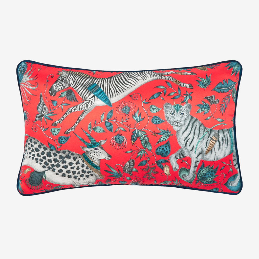 Transform your room into a Fantastical Protea inspired dream with the Protea Silk Double Bolster in Red, designed by Emma J Shipley. Featuring a striking scene of creatures including a flying Zebra with shooting arrows and twining foliage. It will work beautifully on any sofa, chair or bed.