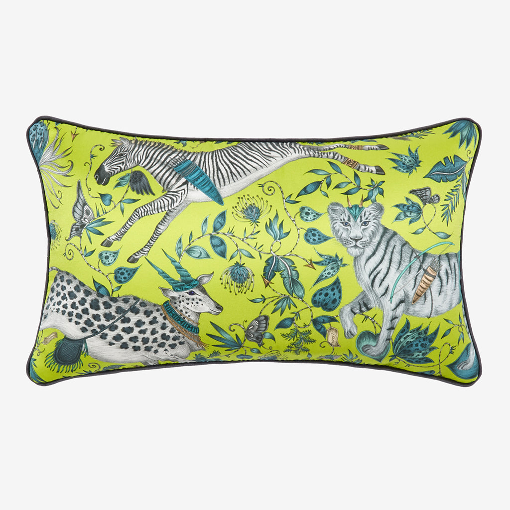 The Lime Double Bolster cushion in the Emma J Shipley Protea Design. The Perfect cushion to stand alone on a chair or to compliment others on a sofa or bed spread