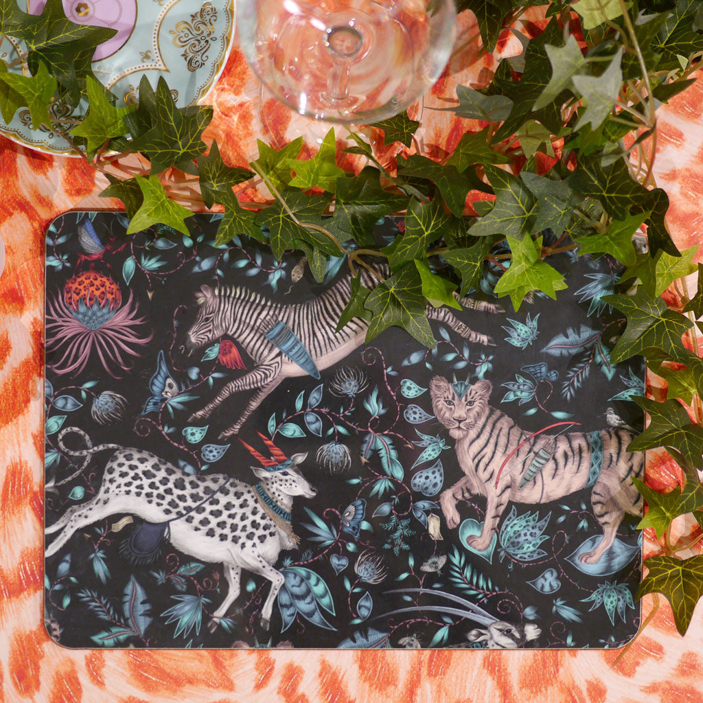 Emma J shipley Protea placemat or table mat in navy with a nature inspired animal design